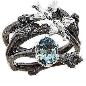 Jewelry - art nouveau birds on branches ring set